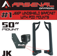 Arsenal 50-inch & POD LED Light Bar Upper Windshield Mounting Brackets With POD Mounts, for Jeep: Wrangler JK 4WD, Wrangler Unlimited LJ 4WD