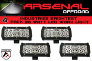 "#1 4x 7"" 36W Arsenal Offroad LED Light Bar 6"" of LED's Super Spot Beam-3w LED's 36w 3,600 Lumen, Off Road, Polaris RZR, UTV, Trucks, Raptor, Jeep, Bumper Rock (4 PACK)"