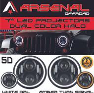 #1 7 Inch Round 60W Cree LED Headlights White Halo Ring Angel Eyes+Amber Turning Signal Lights Jeep Wrangler JK TJ LJ Unlimited Sport Sahara Rubicon Harley Davidson