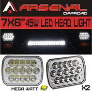 "#1 7""x6"" Chrome Crystal 45W LED Headlight by Arsenal Offroad TM H6014 H6052 H6054 (2 PC)"