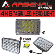 "#1 4""x6"" Chrome Crystal 45W LED Headlight by Arsenal Offroad TM Sealed Beam Replacement HID Xenon H4651 H4652 H4656 H4666 H6545 (1 PC)"