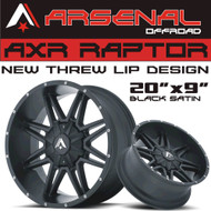 AXR RAPTOR 20x9 Black Satin 6x139.7-6x135 -12 ET 78 C.B. G.M. 1500 Chevy 1500 Ford F-150