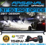 "No.1 31"" 5D Pro Optic Single Row Straight LED Light Bar Spot/Flood Combo Beam-CREE 5w LED's 150w 12,000LM Off Road Polaris RZR UTV Trucks Raptor Jeep Bumper Rock"