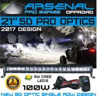 "No.1 21"" 5D Projector Pro Optic Single Row Arsenal Light Bar with 5W Cree LED's Super Combo LED Light Bar 100W 8,000 Lumen Off Road Polaris RZR UTV Raptor Jeep Bumper Rock FREE LED LIGHT BAR SWITCH KIT"