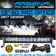 "No.1 13"" 5D Projector Pro Optic Single Row Arsenal Light Bar with 5W Cree LED's Super Combo LED Light Bar 60W 4,800 Lumen Off Road Polaris RZR UTV Raptor Jeep Bumper Rock FREE LED LIGHT BAR SWITCH KIT"
