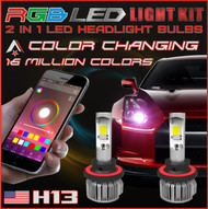 H13 2 in1 RGB LED Headlight Bulb Kit - Smartphone App-Controlled Bluetooth RGB Demon Eye + LED Headlight Color Changing Strobe & Music feature (H13 / 9008)