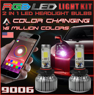 9006 2 in1 RGB LED Headlight Bulb Kit - Smartphone App-Controlled Bluetooth RGB Demon Eye + LED Headlight Color Changing Strobe & Music feature (9006 / 9012 / HB4)
