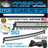 #1 5D 42 inch Curved Pro Optics 240W 5D=400W 40,000LM CREE LED Light Bar by Arsenal Offroad TM 5D Spot Flood combo beam for Xtreme Offroad JEEP Trucks UTV SUV 4x4 Polaris Razor 1000 Raptor