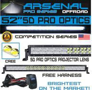 No.1 5D 52 inch Pro Optics Straight 300W 5D=500W 50,000LM CREE LED Light Bar by Arsenal OffroadTM for Extreme Offroading 5D Spot Flood Combo beam 4x4 Jeep SUV FREE LED LIGHT BAR ROCKER SWITCH KIT