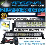 "No.1 5D 22"" Straight Pro Optics Arsenal LED Light Bar New 2018 Design Flood/Spot Combo Beam CREE 3w LED's 120w 5D=280w 28,000LM 4x4 Polaris RZR UTV Jeep FREE LED Light Rocker Switch Kit Harness"