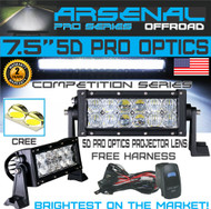 "No.1 5D 7.5"" Straight Pro Optics Arsenal LED Light Bar New 2018 Design Flood/Spot Combo Beam CREE 3w LED's 36w 5D=72w 10,000LM 4x4 Polaris RZR UTV Jeep FREE LED Light Rocker Switch Kit Harness"