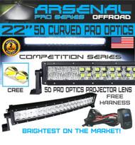 "No.1 5D 22"" Curved Pro Optics Arsenal Offroad LED Light Bar New 2018 Design Flood/Spot Combo Beam CREE 3w LED's 120w 5D=280w 28,000LM 4x4 Polaris RZR UTV Jeep FREE LED Light Rocker Switch Kit Harness"
