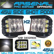 2x 45W Side Shot Pod Cubes CREE LED's Led Work Light Off Road Led Light Driving Light UTV RZR Truck Jeep Wrangler