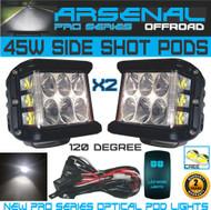 2x 45W Side Shot Pod Cubes CREE LED's Led Work Light Off Road Led Light Driving Light UTV RZR Truck Jeep FREE Rocker Switch Wire Harness