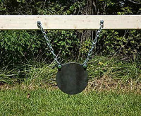 "Gong Target AR500 8"" Inch Diameter - 3/8 Inch Thick Armour Steel Plate With Hanging Chain Kit - Unpainted (FREE SHIPPING!)"