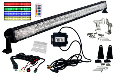 Rgb series 50 oz usa double row dimmable led light bar cross style image 1 aloadofball Images