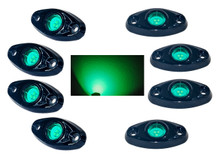 Green Rock Light Kit 8x LED for crawling under body frame fender 4x4 offroad