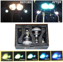 Motorcycle H4 dual LED bulb Headlight conversion Kit harley road glide king  cvo  street touring  FL Xenon White