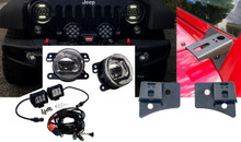 "Jeep Wrangler POD Mount + JK-Fog + D4D 4"" LED bar SPOT Beam wiring Kit cube  JK JKU 2007-2017"
