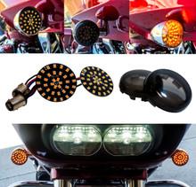 Black Out Amber LED Turn Signal Running Light Insert Harley Bullet 1157 Bulb FL FX XL Smoke Lens touring dyna softail sportster street road electra glide