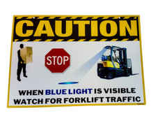 OZ-USA® Set of 2 Laminated Vinyl Forklift Traffic Sign Caution Safety Warning Signage Lifting Boom Crane Warehouse Storage Indoor Outdoor Construction Area