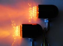 Motorcycle Running Light Turn Signal Amber LED Front Black Custom Chrome Cruiser