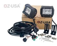 "D4D 4"" Flood Beam LED Pair 4D reflector Work Light Bar Black Off-Road SUV Boat 4WD Jeep"