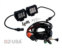 "D4D 4"" SPOT Beam LED Pair 4D reflector Work Light Bar Black for Off-Road SUV Boat 4WD Jeep"
