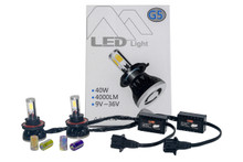 H13 Hi/Lo Cree LED Headlight Kit by OZ-USA® 40W 4-Sided Head Light Dual Beam 4000LM Xenon White 6000K . Changeable yellow & blue glass tubes included.