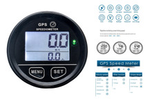 GPS Speedometer OZ-USA® 60mm gauge resettable odometer battery meter digital dash 12v 24v mph kmh car truck boat marine motorcycle cart atv glider