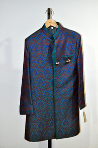 Indian Mens Blue Wedding Kurta-Size 40
