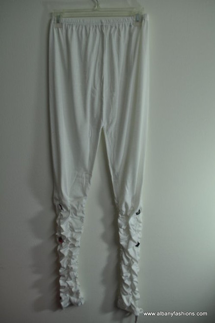 Indian Leggings - White with Stone/Button