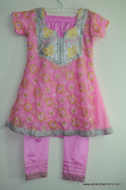 Pink Silver Salwar Suit for Girls Size 26