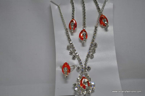 Silver Chain with Pink Pendant Tikka Ear Rings and Ring Set