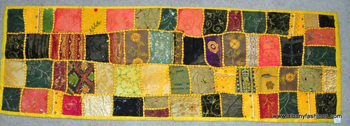 Rectangle - Yellow Vintage Beaded Ethnic India Sari Tapestry Wall Hanging