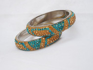 Stone Bangles - Turcoise ad Gold D80 (Double)