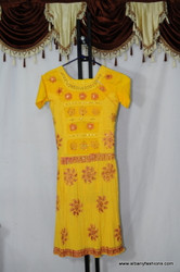 Yellow Frill Floral Churidar Suit