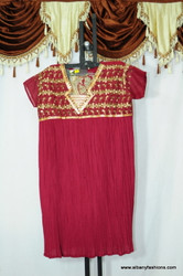Dark pink V neck churidar suit