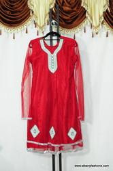 Red Designer Churidar Suit