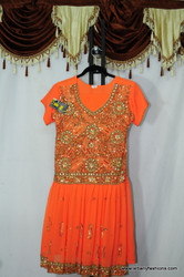 Orange Heavy work Churidar Suit