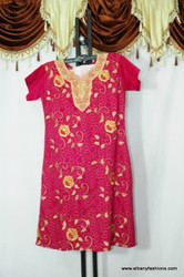 Dark Pink Cotton Flower Churidar Suit