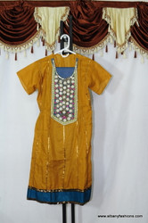 Mustard with Blue Border Churidar