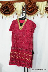 Dark Pink Golden V Neck Churidar Suit