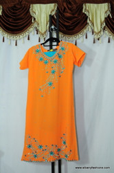 Orange Blue Chumki Churidar Suit