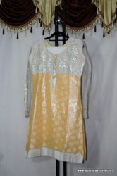 White Yellow netted Churidar Set