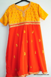 Orange Red Churidar Suit