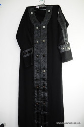 Black Fancy button Abayas / Jilbabs / Hijabs / Indian Burka