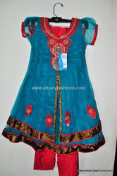 Green Red Girls Churidar Set Size 32