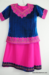 Dark Blue Pink Ghagara Choli for Girls Size 34
