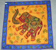 Indian Wall Hanging -Square - Blue & Yellow Elephants